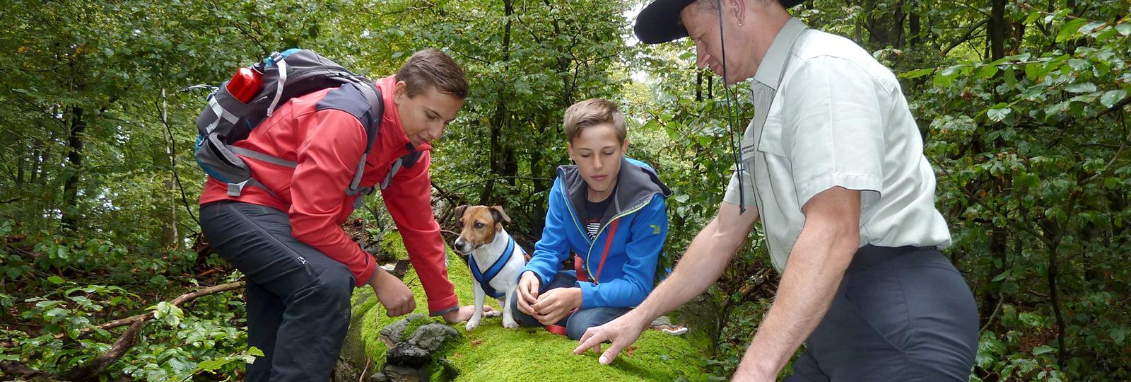 Ranger mit Jugendlichen im Nationalpark Hunsrück-Hochwald